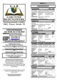 EINSCHREIBUNGEN vom 30.08. bis 17.09.2010 - Gablitz
