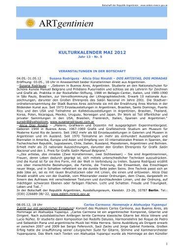 Kulturkalender Mai 2012 - Embajada de la República Argentina en ...