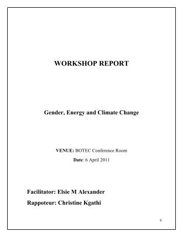 WORKSHOP REPORT Gender, Energy and ... - ENERGIA Africa
