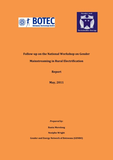 Follow-up on the National Workshop on Gender ... - ENERGIA Africa