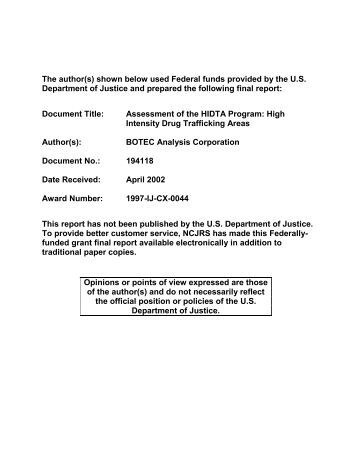 Assessment of the HIDTA Program - National Criminal Justice ...