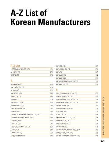 A-Z List of Korean Manufacturers - Gobizkorea