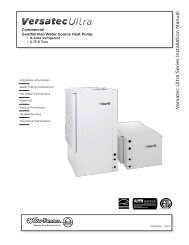 V ersa tec Ultra Series Installa tion Manual - WaterFurnace