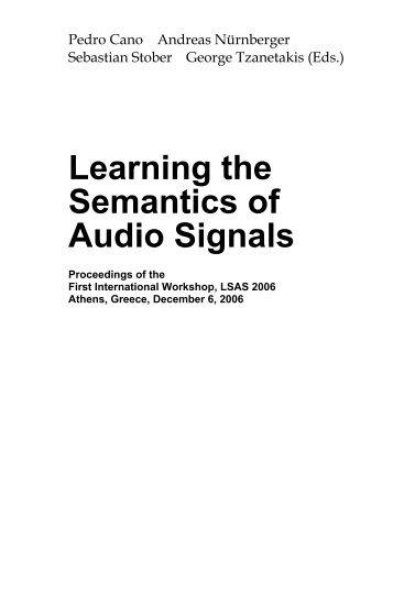 Learning The Semantics Of Audio Signals