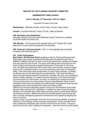 Minutes - Warminster Town Council