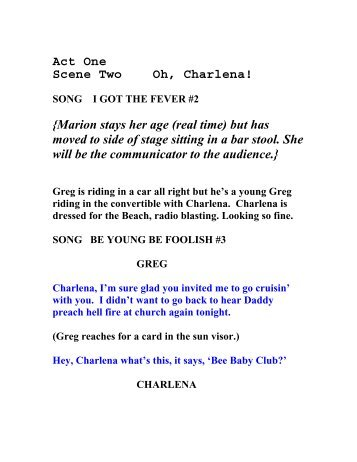 Act One Scene Two Oh, Charlena! - The Heeey Baby Days Of Beach ...