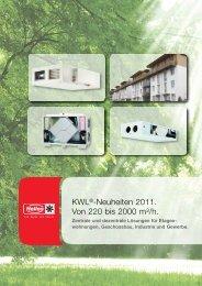KWL®-Neuheiten 2011. Von 220 bis 2000 m³/h. - HELIOS Ventilatoren