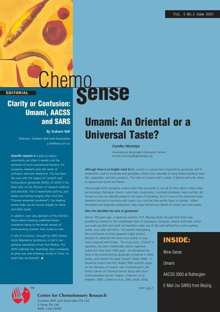 Umami: An Oriental or a Universal Taste? - ChemoSense