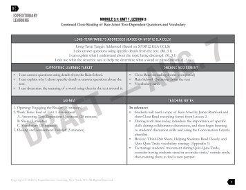 Grade 3 ELA Module 1, Unit 1, Lesson - EngageNY
