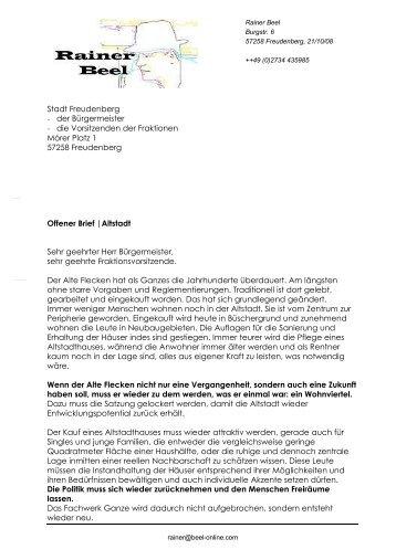 Offener Brief an den BM und die Fraktionschefs