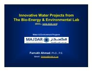 Innovative Water & Environmental Projects from BEEL, Masdar
