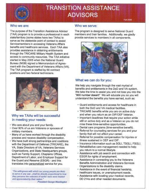 TAA Brochure (Fall 2008) - Oklahoma National Guard