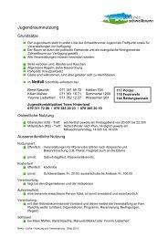 Nutzung Jugendraum - Gemeinde Schwellbrunn