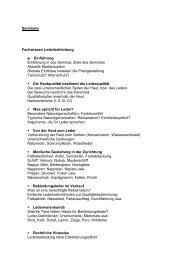 Seminare Fachwissen Lederbekleidung Einführung Einführung in ...