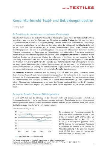 Konjunkturbericht Textil- und Bekleidungsindustrie - Swisstextiles.ch