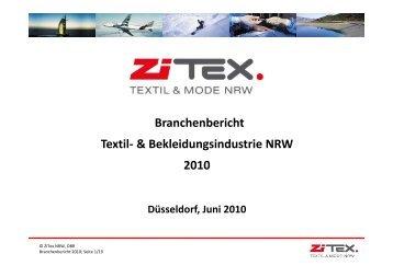"""Branchenbericht """"Textil- und Bekleidungsindustrie NRW 2010"""" - ZiTex"""