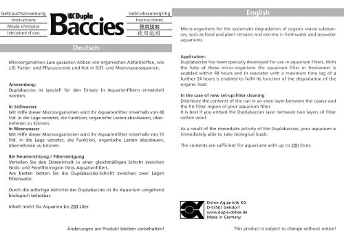 Gebrauchsanweisung / Dupla Baccies - Dohse Aquaristik KG