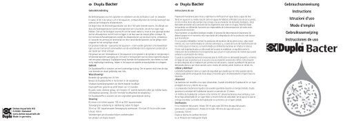 Modes d'emploi / Bacter - Dohse Aquaristik KG