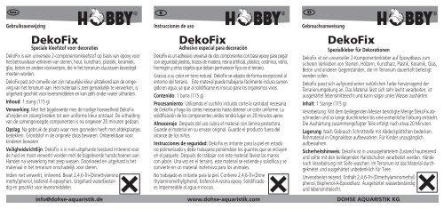 Instrucciones de uso / Dekofix - Dohse Aquaristik KG
