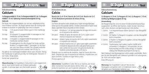 Istruzioni per l'uso / Test Case Ca/Mg - Dohse Aquaristik KG