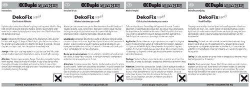 Modes d'emploi / DekoFix liquid - Dohse Aquaristik KG