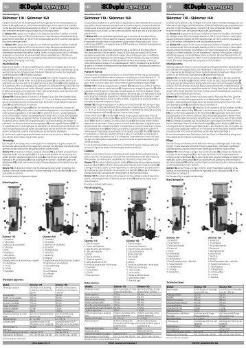 Instrucciones de uso / Skimmer - Dohse Aquaristik KG