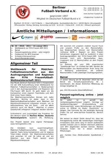 Amtliche Mitteilung Nr. 24 - Berliner Fußball-Verband e.V.