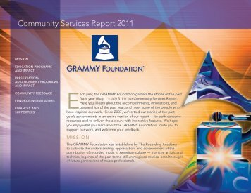 Community Services Report 2011 - GRAMMY.org