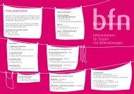 Flyer Angebote für Frauen mit Behinderung - berliner frauen netzwerk