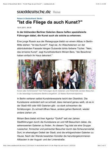 """Reisen in Deutschland: Berlin - """"Ist die Fliege da auch Kunst ... - GoArt!"""