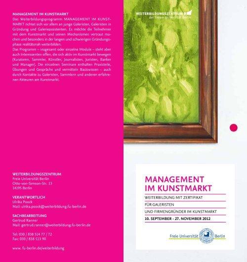 MANAGEMENT IM KUNSTMARKT - Freie Universität Berlin