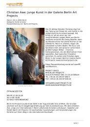 Christian Awe: Junge Kunst in der Galerie Berlin Art Projects