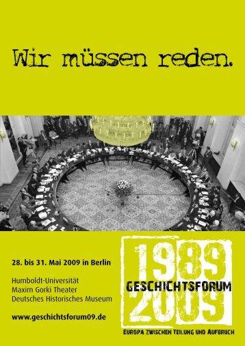 28. bis 31. Mai 2009 in Berlin Humboldt-Universität Maxim Gorki ...