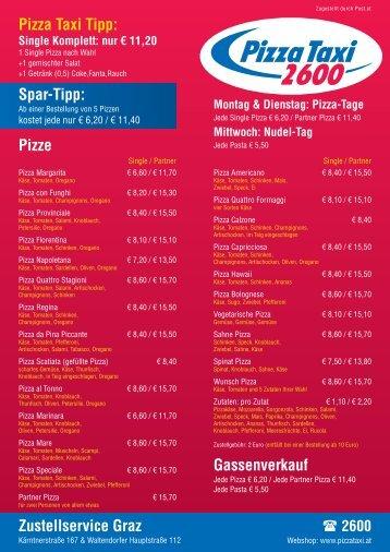 Gassenverkauf Pizze Zustellservice Graz Pizza Taxi Tipp: Spar-Tipp: