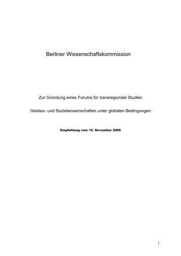 Berliner Wissenschaftskommission - Forum Transregionale Studien