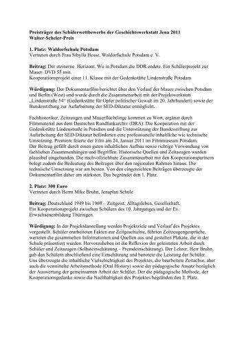 Preisträger des Schülerwettbewerbs der Geschichtswerkstatt Jena ...
