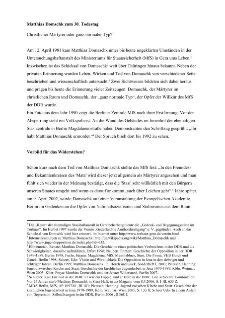 Matthias Domaschk zum 30. Todestag - Geschichtswerkstatt Jena eV
