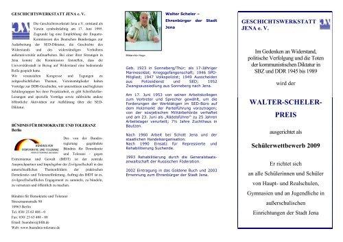 walter-scheler- preis - Geschichtswerkstatt Jena eV