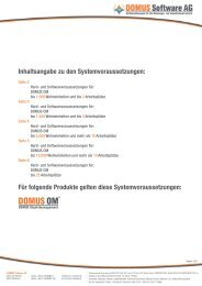 Inhaltsangabe zu den Systemvoraussetzungen - DOMUS Software AG
