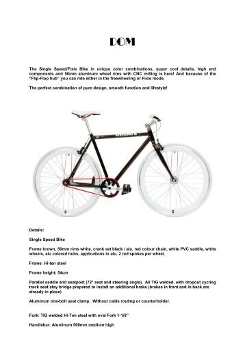 The Single Speed/Fixie Bike  in unique color combinations ... - Dom