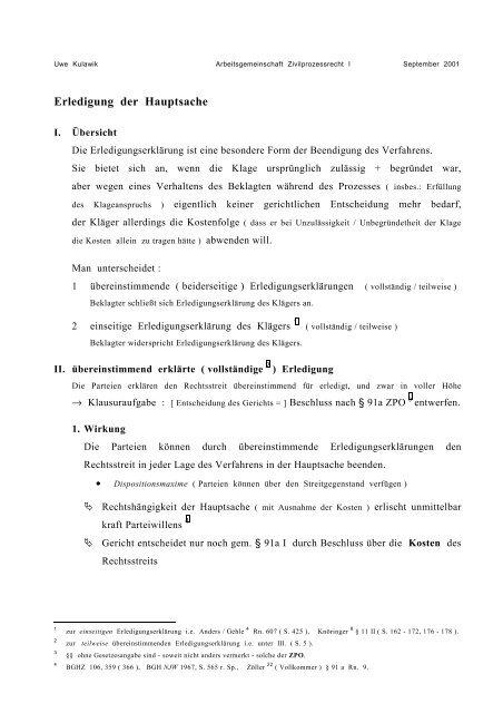 Erledigungserkarung Des Klagers Vor Gericht Vorlagen De 11
