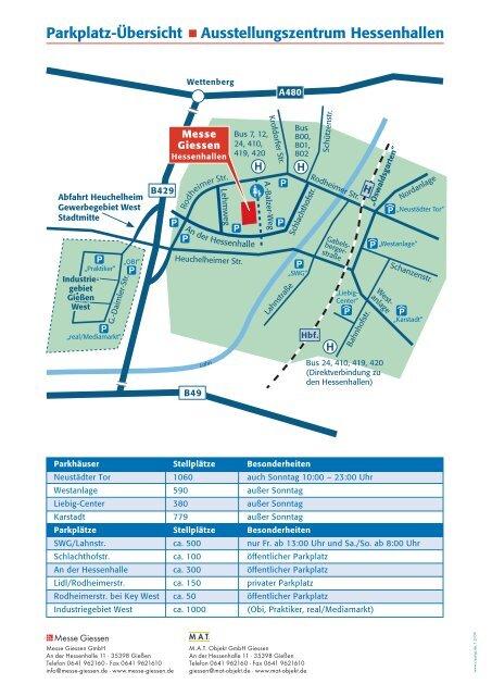 Anfahrts- Parkplatzplan Messe Gießen / Hessenhalle