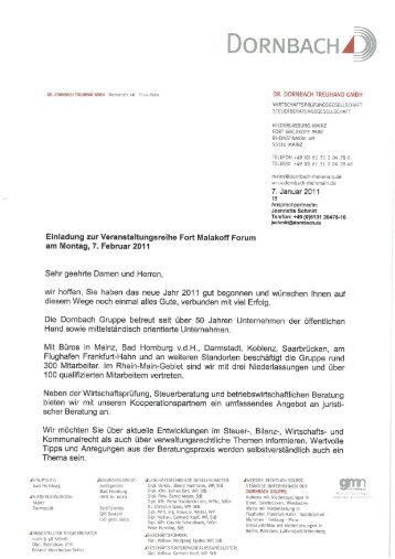 Informationen zum Fort Malakoff Forum am 17 2 2011 in Mainz 1 ...