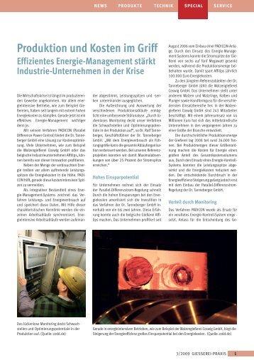 Produktion und Kosten im Griff Effizientes Energie-Management