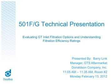 501F/G Technical Presentation - Donaldson Company, Inc.
