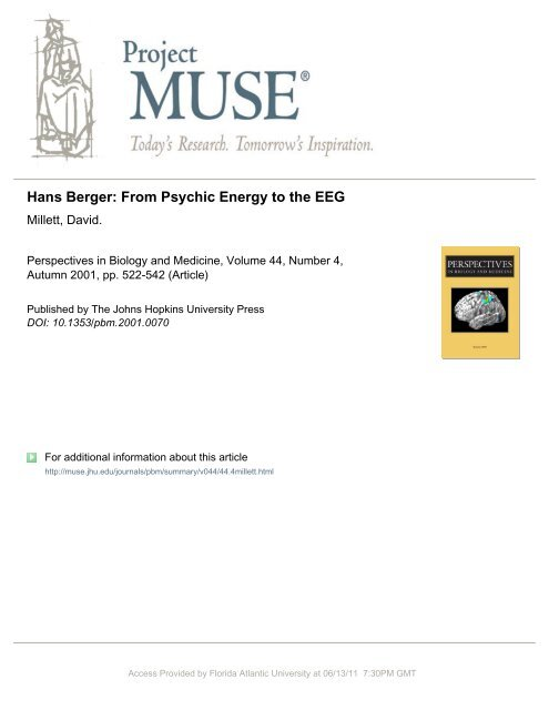 Hans Berger: From Psychic Energy to the EEG