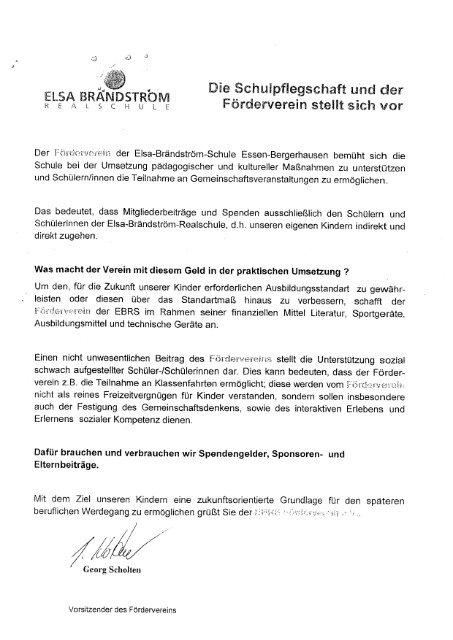 Beitrittserklärung Förderverein - Elsa-Brändström-Realschule Essen