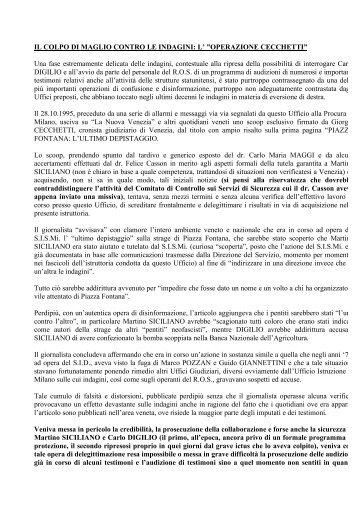 """L' """"OPERAZIONE CECCHETTI"""" - Misteri d'Italia"""