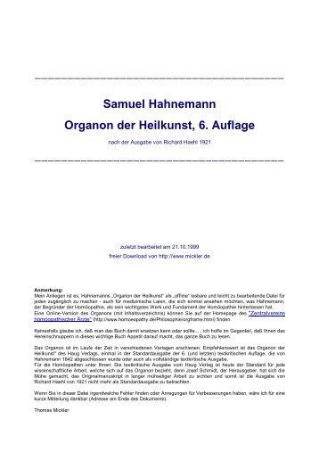 Samuel Hahnemann Organon der Heilkunst,  6. Auflage - Dr. med ...