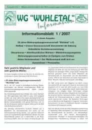Informationsblatt 1 / 2007 - WG Wuhletal eG
